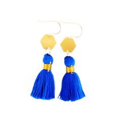 Gold geo tassel earrings in blue