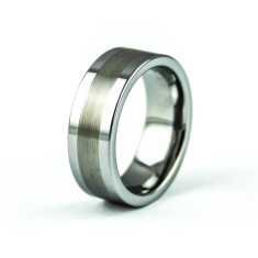 Men's label tungsten carbide ring