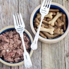 Personalised silver plated vintage pet food fork