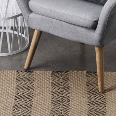 Stripe Jute Rug With Latex Back