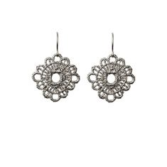 Lace doily earrings (silver)