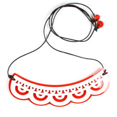 Red & white lace necklace