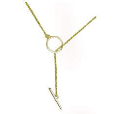 Isabelle t-bar pendant in yellow gold