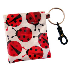 Ladybird waterproof coin pouch key ring clip
