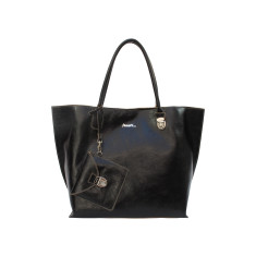 Soft black leather ladies tote