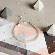 Glitzerland - Skinny Crystal Nude Mesh Bracelet