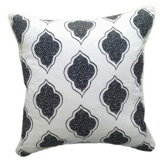 Black lanterns cushion on natural or white linen