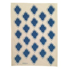 Navy blue lanterns linen tea towel
