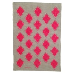 Neon pink lanterns linen tea towel (off-white or natural)