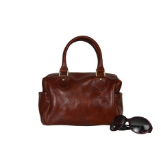 Genuine Leather Mini Bowler bag in Brown