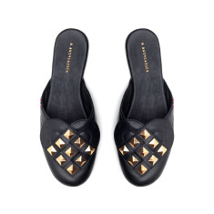 Elskling Premium Studded Mule Slipper - Black/Gold