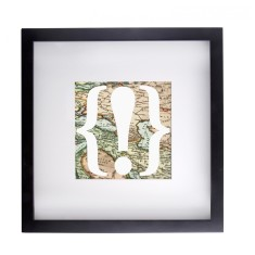 Vintage map exclamation mark framed print