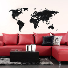 Large black labelled world map wall sticker
