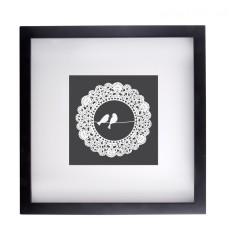 Bird and doily framed print