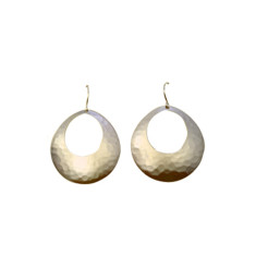 Large oval battered earrings (gold)