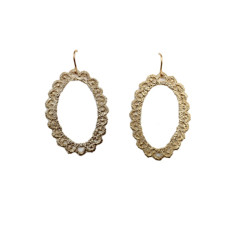 Large oval lace earrings in gold