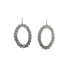 Large oval lace earrings in silver