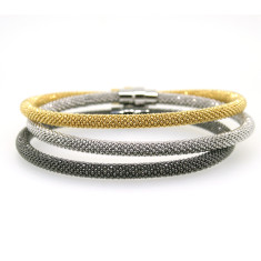 Sterling silver snake bracelets in black silver and gold (set of 3)