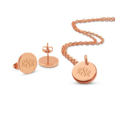 Personalised Lucy pendant & earrings set (in rose gold & silver)
