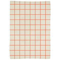 Lattice tablecloth in neon coral