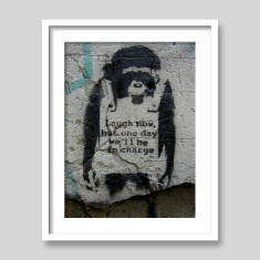 Laugh now monkey by Banksy art print