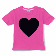 Kids' chalkboard t-shirt in love heart (pink) design