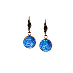 Vintage style lever-back copper earrings in indigo sparkle