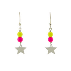Double neon star earrings
