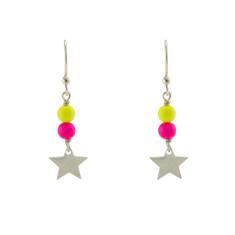 Double neon star earrings