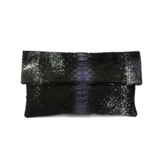 Metallic obsidian python leather classic foldover clutch bag