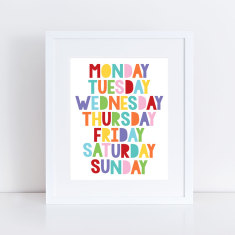 colourful days of the week art print