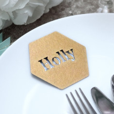 Personalised Laser Cut Hexagon Place Names (Set Of 10)