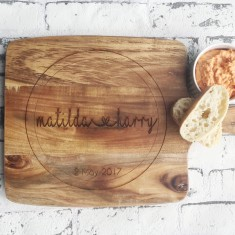 Personalised Wedding couples name laser etched wooden chopping board