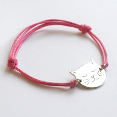 Personalised Frida Sterling Silver Cat Face and Cord Bracelet
