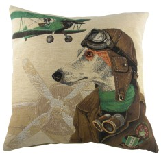 Dog fighters cushion in green