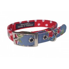 Blue flower dog collar