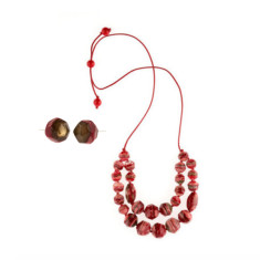 Eloquence double edge necklace & earring set in rouge red