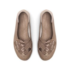 Elskling Slipper In Taupe/Rose Gold Leather