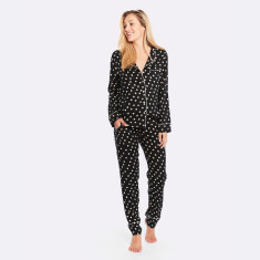 Raffles Long PJ Set Black / Ivory