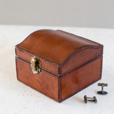 Personalised leather curved stud box with clip