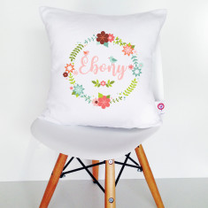 Floral wreath personalised cotton cushion cover