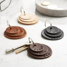 Personalised Family Names Leather Keyring