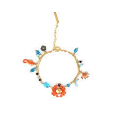 Crab, seahorse and coral bracelet