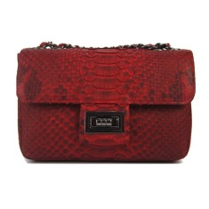 Red motif python leather crossbody sling bag