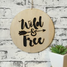 Wild and Free plywood/black wall hanging