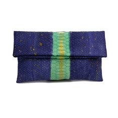 Denim aqua sparkle python leather classic foldover clutch