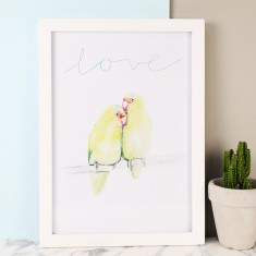 Love Birds Illustrated A4 Print