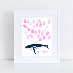 Humpback whale fingerprint guest book and ink