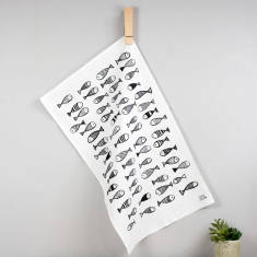 Fish pattern tea towel