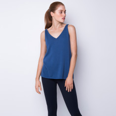 Cotton cashmere tank in powder blue